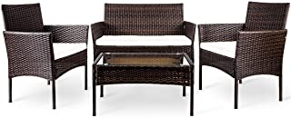 LZ LEISURE ZONE 4 PC Rattan Patio Furniture Set Outdoor...