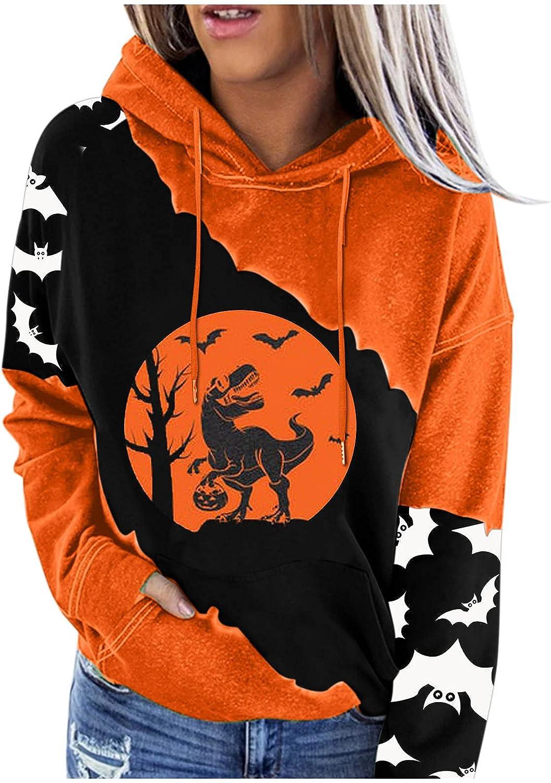 Womens Halloween Sweaters Hooded Sweatshirts Hoodies, Long Sleeve Casual Oversized Sweatshirt with Pockets