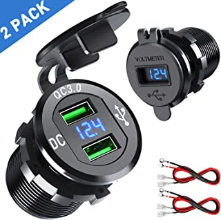 【2 Pack】 Quick Charge 3.0 Car Charger, CHGeek 12V/24V 36W Aluminum Waterproof Dual QC3.0 USB Fast Charger Socket Power Outlet with LED Digital Voltmeter for Marine, Boat, Motorcycle, Truck and More