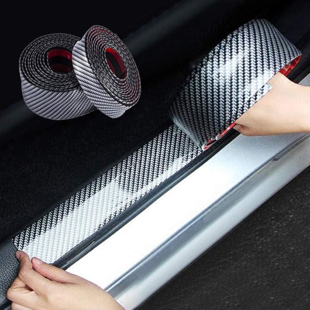 Jilibaba Protection de seuil de porti/ère de voiture en fibre de carbone 5D 3 cm x 1 m