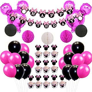 JOYMEMO Minnie Themed Party Decorations Happy Birthday Banner Paper Honeycomb Balls Fuchsia Foil Ballons for Girl's Birthday Party