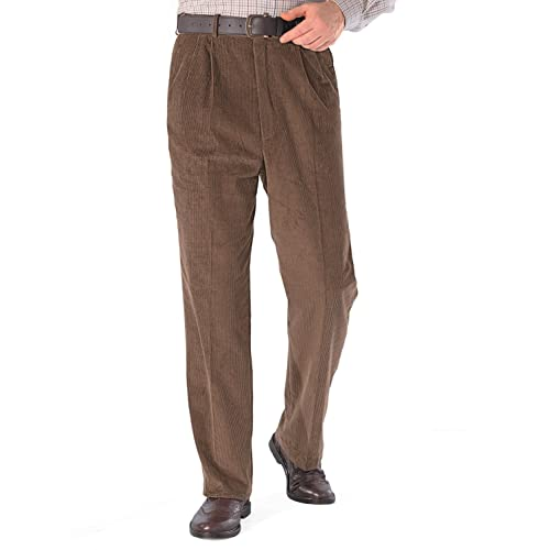 618a16a21be3 Mens Luxury Cotton HIGH-Rise Corduroy Adjustable Pleated Trouser Pants