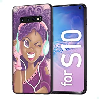 Samsung Galaxy S10 Case African American Afro Girls Women Slim Fit Shockproof Bumper Cell Phone Accesories Thin Soft Black TPU Protective Samsung Galaxy S10 Cases (16)