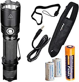 Fenix TK20R 1000 Lumens High Capacity USB Rechargeable LED Tactical Flashlight with 1x Rechargeable Battery and 2x Backup LumenTac CR123A Batteries
