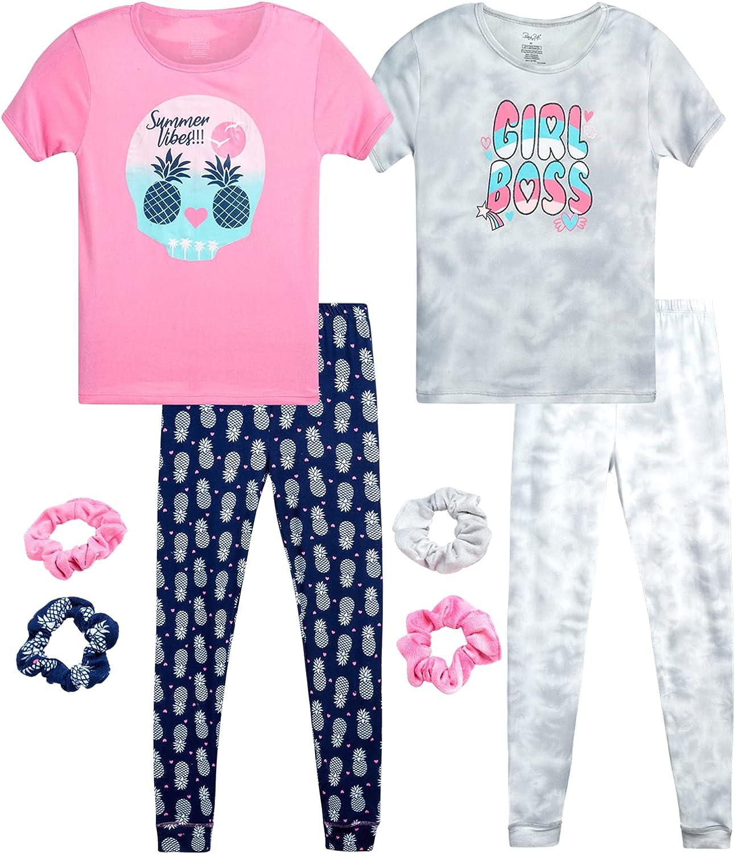 Rene Rofe Girls' Pajamas Set – 4 Piece Super Soft T-Shirt and Sleep Pants (Big Girl)