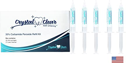 Teeth Whitening Kit REFILL(5 Pack), Crystal Clear Teeth Whitening Gel, MADE IN USA! Dentists & FDA Approved (5 Pack Refill)