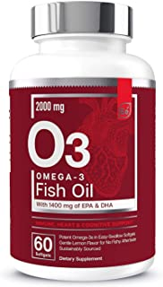 Omega-3 Burpless Fish Oil Supplement with EPA & DHA | Antioxidant Fatty Acids for Immune, Heart & Cognitive Support | Omeg...