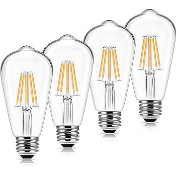 Vintage Led Edison Bulbs 60 Watt Equivalent, DORESshop 6W Antique Led Filament Bulb, st58 Antique Style Edison Light Bulb, 2700K Warm White, 600LM, E26 Lamp Base, Non Dimmable, Clear Glass, 4Pack
