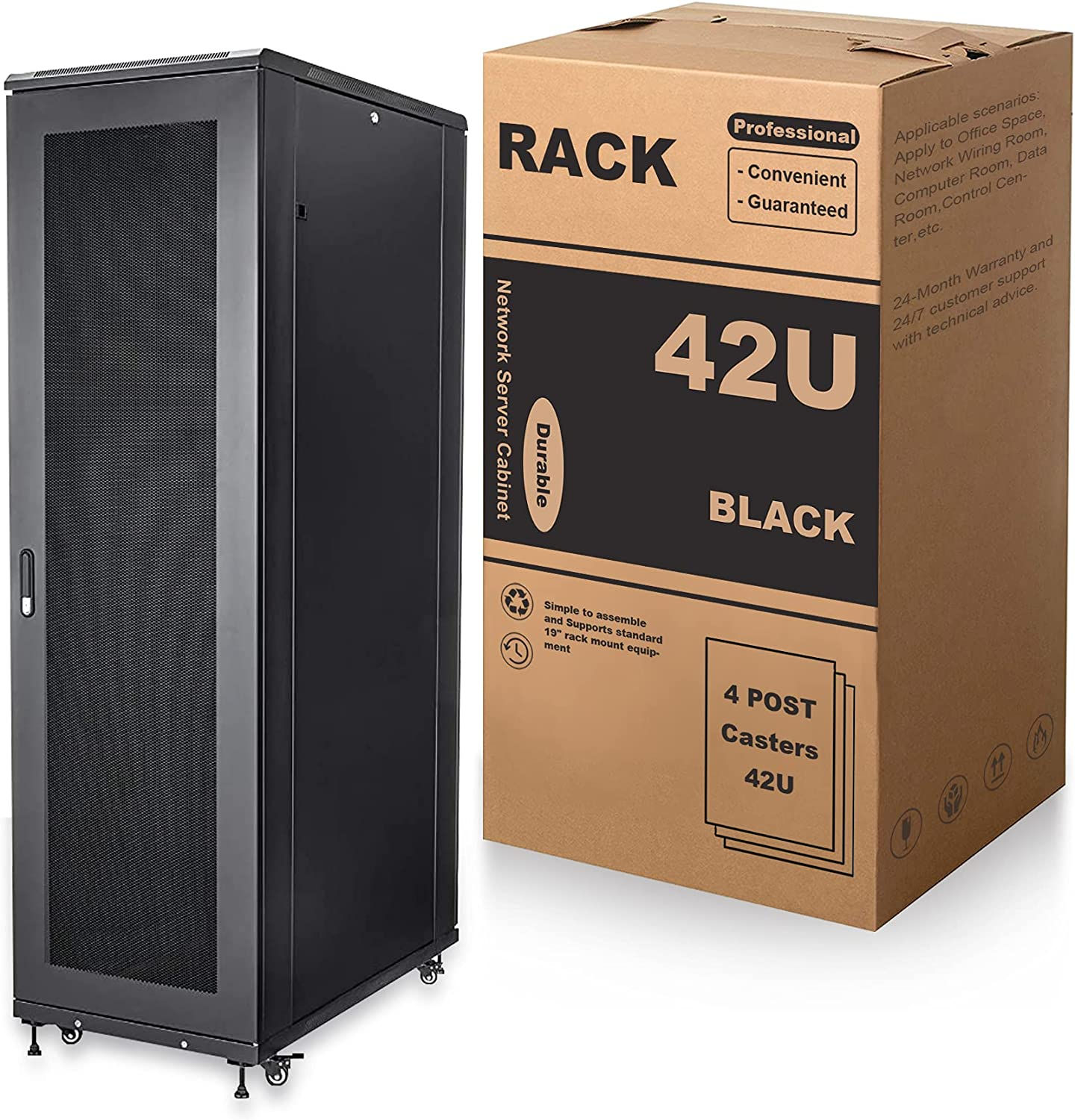 MendyNet Adjustable Depth 4-Post 42U IT Network Server Rack Cabinet with Casters, 2000lbs, Apply to Office Space, Network Wiring Room, Computer Room, Data Room,Control Center,etc.