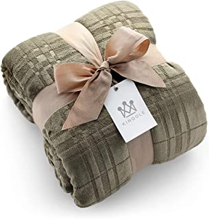 Kingole Flannel Fleece Microfiber Throw Blanket, Luxury Olive Grid Pattern King Size Lightweight Cozy Couch Bed Super Soft and Warm Plush Solid Color 350GSM (108 x 90 inches)