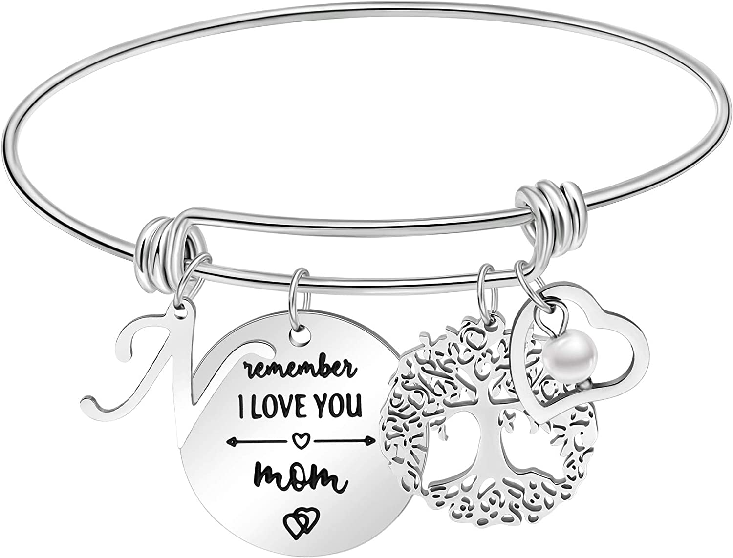 Gifts for Mom from Daughter Mother's Day Birthday Gifts Adjustable Bangle Bracelets Best Mom Mama Jewelry from Son