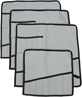 Heavy Duty Oxford Tool Roll Pouch Wrench Holder Organizer Bag With 12 Pockets Set Of 4(HGJ73) (Grey)