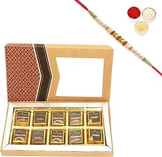 Ghasitaram Gifts Rakhi Gifts for Brothers 10 pcs Assorted Sugafree Chocolates Kraft Box with Pearl Rakhi