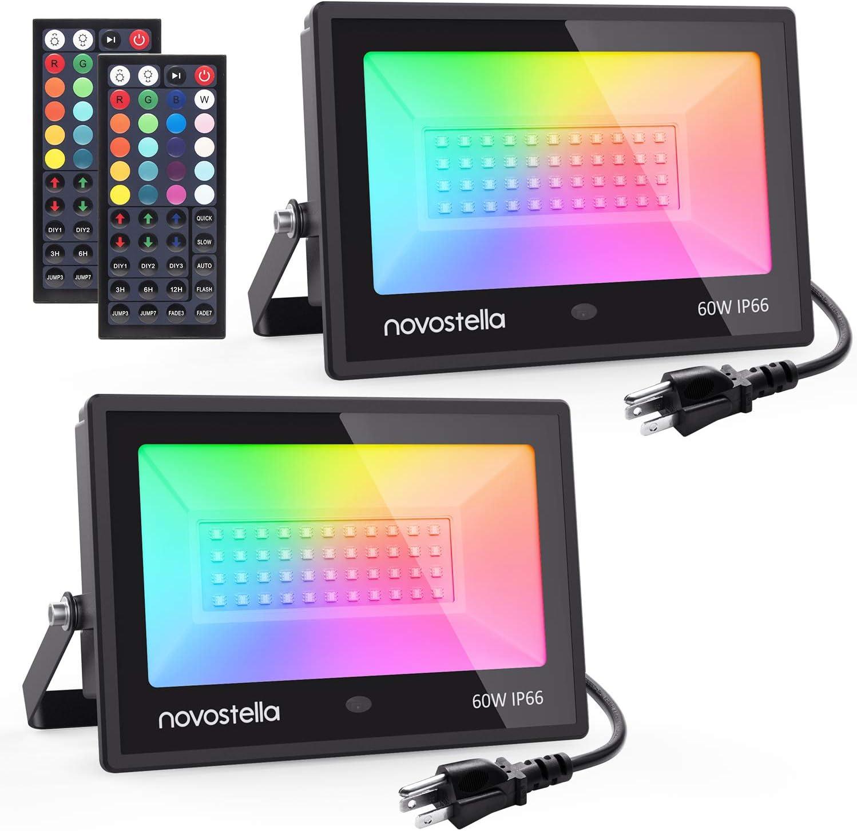 Novostella 2 Pack 60W RGB LED Keys Light 44 5 ☆ very 67% OFF of fixed price popular Flood Controller