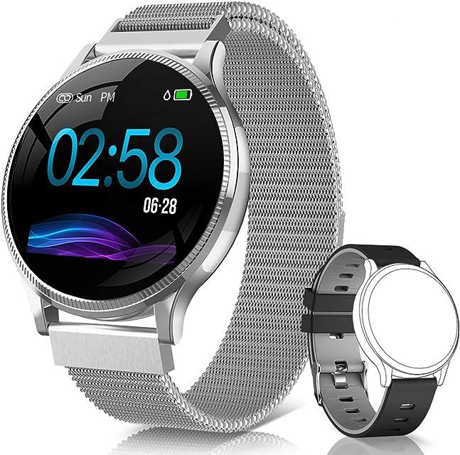 NAIXUES Smartwatch Reloj Inteligente IP67 Pulsera Actividad Inteligente con Pulsómetro Monitor de Sueño Podómetro Calorías Mujer Hombre para iOS y Android (Plata)