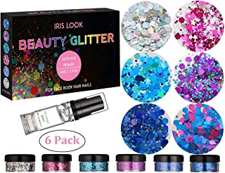 HITOP Christmas Party Favors Cosmetic Glitter, 2 Pack Body Glitter with 1 Fix Gel, Rave Makeup Face Glitter Festival For Women, Christmas Gifts For Teen Girls (6 Pack-set 4)