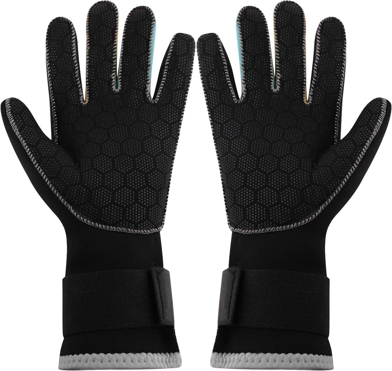 Unisex Wetsuit Gloves 3MM Neoprene Scuba Diving Gloves Surfing Snorkeling Swimming Gloves for Men Women Stretchy Thermal Anti Slip Dive Water Gloves for Spearfishing Rafting Kayaking Paddling