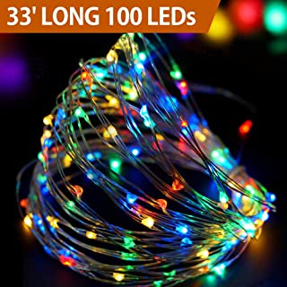 Bright Zeal 33' Ft Long LED Christmas Lights Outdoor Multicolor - LED String Lights Battery Powered with Timer - Multicolor Christmas Wreaths Christmas Garland LED Starry Fairy Lights Battery Operated