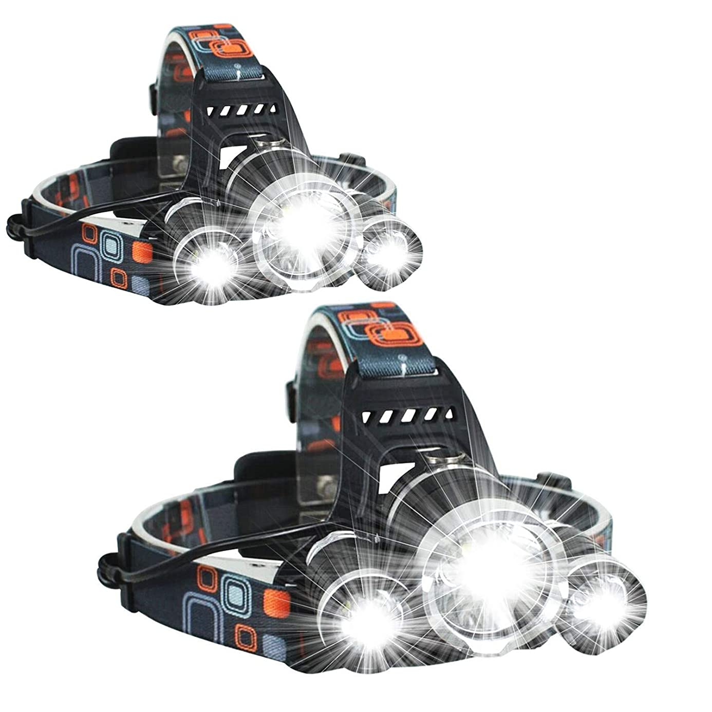 UVER 2 Pack Brightest and Best High Powered Lumen Bright Headlight Headlamp Flashlight Torch 3 XM-L2 T6 LED with Rechargeable Batteries and Wall Charger for Hiking Camping Riding Fishing Hunting