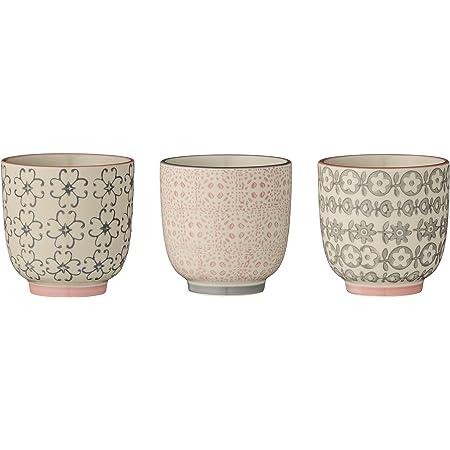 Bloomingville Petites tasses à café Cécile, Rose et Gris, 3 pièces