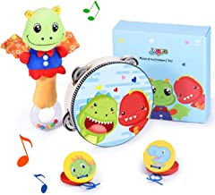 Joyjoz Kids Musical Instruments Set, Baby Rattles and Wooden Tambourine, Castanets Toys for Toddlers, Cute Stuffed Animal Early Educational Musical Toys, Dinosaur Theme DIY Gifts for Boys Girls