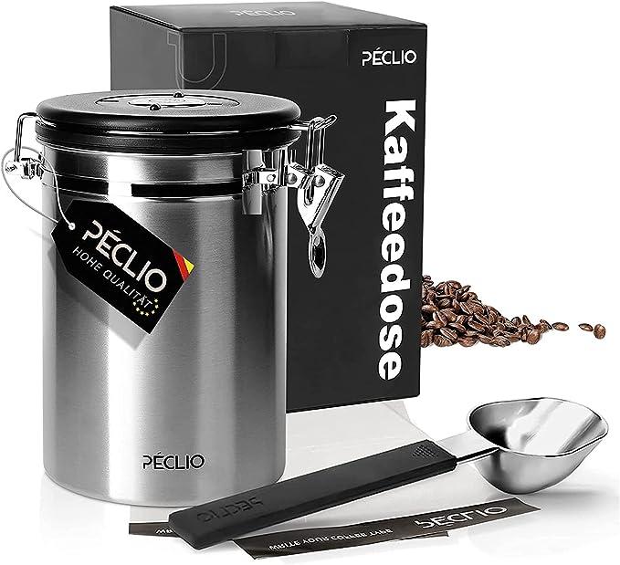 29 opinioni per Peclio Contenitore per caffè in acciaio inox, ermetico, 500 g, contenitore per