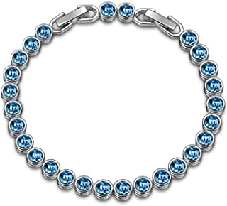 LADY COLOUR Christmas Bracelet Gifts for Women Romantic Gifts for Her Ballad for Adeline Series Blue Tennis Bracelet 6.4