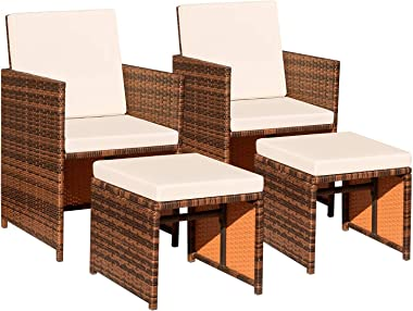 Devoko 4 Pieces Patio Wicker Furniture Set Outdoor Patio Chairs with Ottomans All Weather Cushioned Chairs Balcony Porch Furn