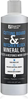 Essential Values Cutting Board & Butcher Block Mineral Oil – Perfect for Protecting & Restoring Wood Surfaces, Compatible with All Wood Types & Food Grade Safe, Proudly Made in USA