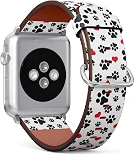 (Dog Paw Cat Paw Puppy Foot Print Kitten Valentine Love Heart Pattern) Patterned Leather Wristband Strap for Apple Watch Series 4/3/2/1 gen,Replacement for iWatch 38mm / 40mm Bands
