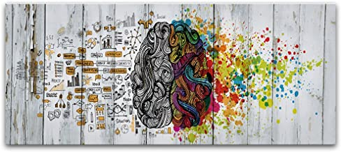 Visual Art Decor Abstract Picture Vintage Left and Right Brain Advantage Canvas Poster Inspiration Motivation Education Science Canvas Prints Wall Art Gallery Wraped Modern Office Wall Decoration