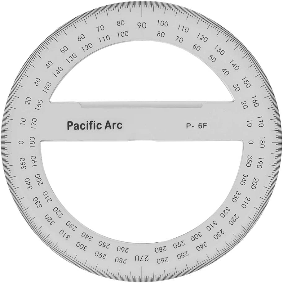 Pacific Arc's 6 Inch 360 Degree Plastic Circular Protractor Clear: Office Products