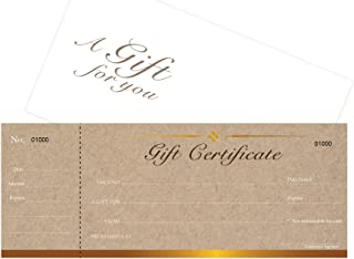 Blank Gift Certificates Cards with Envelopes 25set -Kraft Image with stub-Gift Coupons,Vouchers for Small Business,Spa,Makeup,Hair Beauty Salon,Restaurant,Wedding Bridal,Baby Shower,Christmas,Birthday