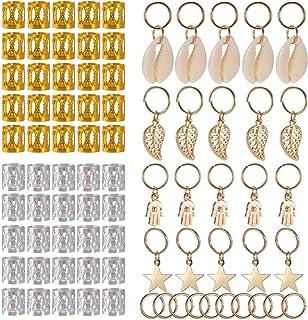 PChero Dreadlocks Metalen Kralen en Schelpblad Hand Ster Hanger Ringen voor Haar Vlechten Decoreren (80 Stuks)