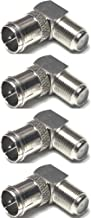 CESS Right Angle Coax F-Jack to F-Quick Push On Plug, Male/Female Adapter - Support Comcast, Time Warner, Cox Communications, Charter Communications, Verizon FiOS, and AT&T (4 Pack)