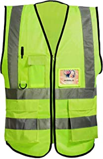 Misslo 5 Pockets High Visibility Zipper Front Breathable Safety Vest with Reflective Strips, Neon Yellow (Medium)