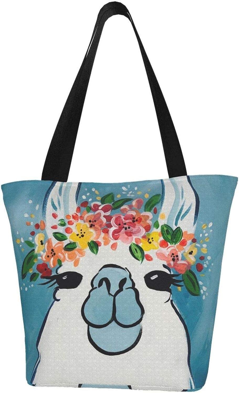 Llama Garland Cute Blue Themed Printed Women Canvas Handbag Zipper Shoulder Bag Work Booksbag Tote Purse Leisure Hobo Bag For Shopping