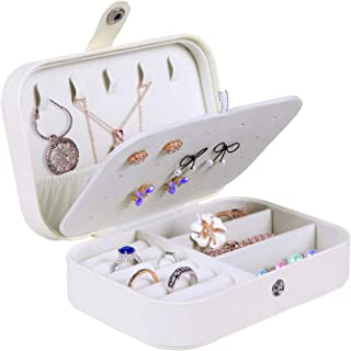 misaya Jewelry Box for Women Doubel Layer Travel Jewelry Organizer for Necklace Earring Rings Sparkle Jewelry Holder Case, Sparkle Beige White