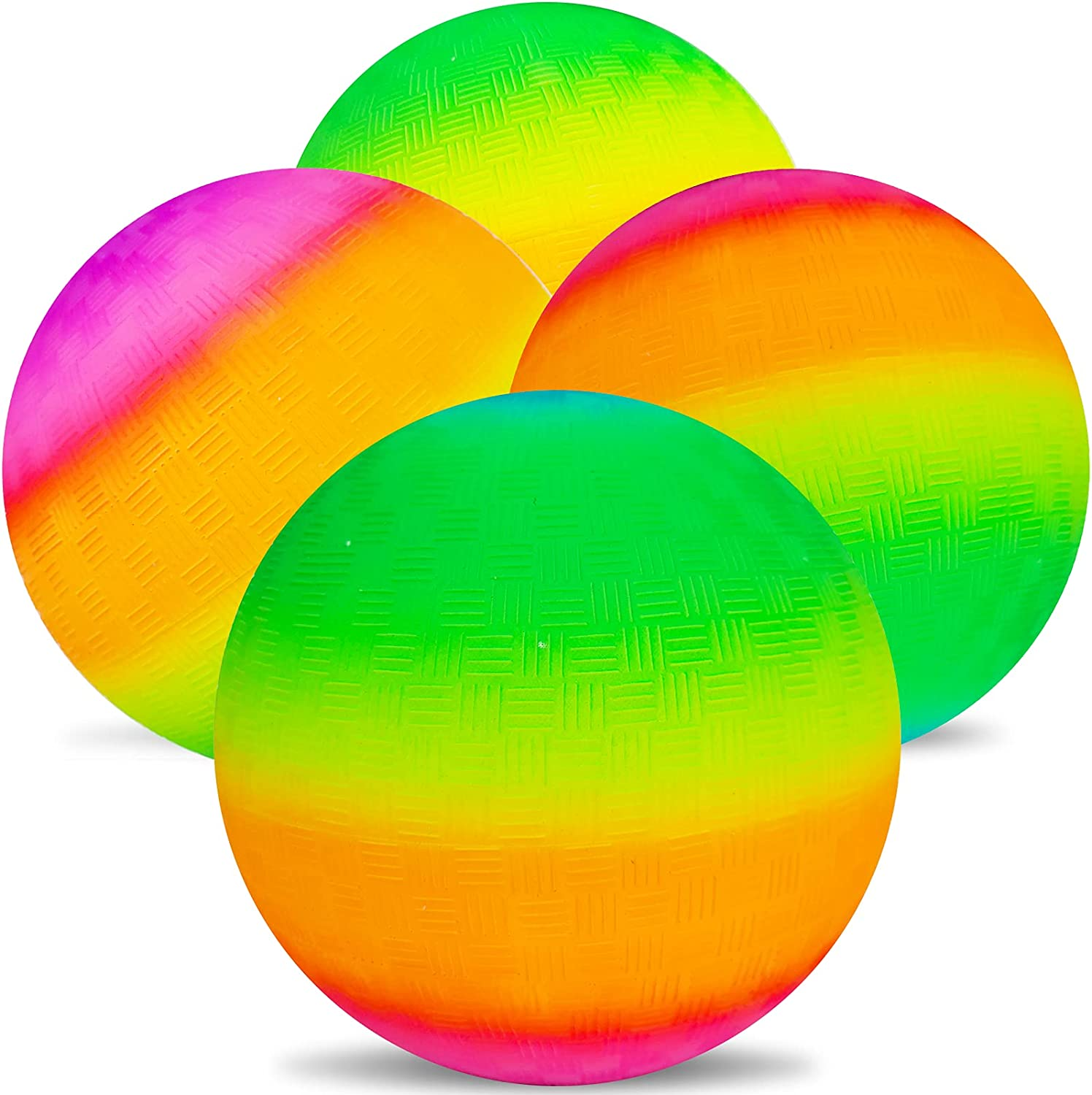 Visen 4Pcs Rainbow Playground Balls for Kids/&Adults with 1 Hand Pump,8.5Inch Colorful Rubber Bouncy Balls,Inflatable Multi Colors Kick Balls Handball,Durable Indoor/&Outdoor Play Toys