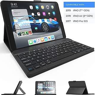 iPad Keyboard Case for iPad 10.2 2019, iPad Air 10.5 2019, iPad Pro 10.5 2017 - iPad 7th Generation Case with Keyboard - iPad Air 3rd Generation Case with Keyboard - Slim Folio Cover (Black)