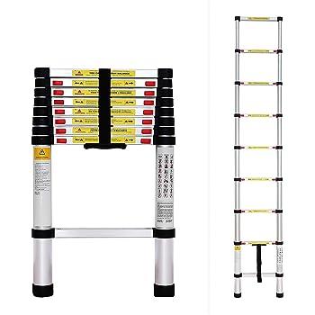 Todeco - Escalera Telescópica, Escalera Plegable - Carga máxima: 150 kg - Estándar/Certificación: EN131 - 2,6 Metro(s), EN 131: Amazon.es: Bricolaje y herramientas