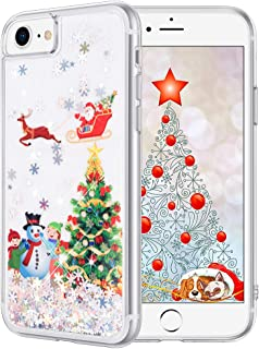 Maxdara Christmas Case for iPhone 6 6s 7 8, Merry Christmas Tree Pattern Glitter Liquid Bling Sparkle Cute Case for Girls Children Women Gifts Christmas Case for iPhone 6 6s 7 8 4.7 inches(Tree)