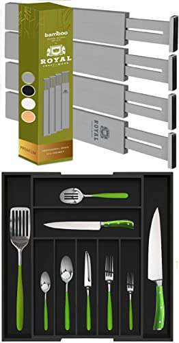 lowest Gray online discount Drawer Dividers 22IN and Black Silverware Drawer Organizer sale
