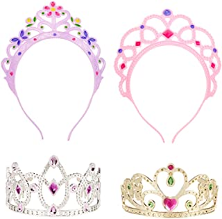 Melissa & Doug Role-Play Collection Crown Jewels Tiaras (Pretend Play, Durable Construction, 4 Dress-Up Tiaras and Crowns, Great Gift for Girls and Boys - Best for 3, 4, 5, and 6 Year Olds)