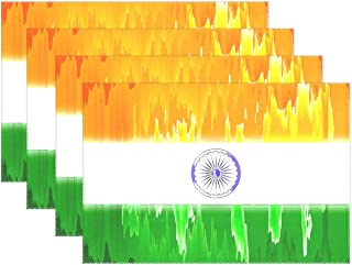 YPink India National Flag Flag National Colours National Placemats Set Of 4 Heat Insulation Stain Resistant For Dining Table Durable Non-slip Kitchen Table Place Mats