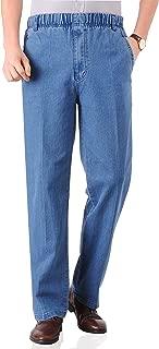 Mens Seniors Casual Loose Fit Elastic Waist Denim Pants