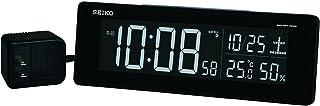 セイコークロック 置き時計 黒 本体サイズ:7.4×22.2×4.4cm 目覚まし時計 電波 デジタル 交流式 カラー液晶 DL205K