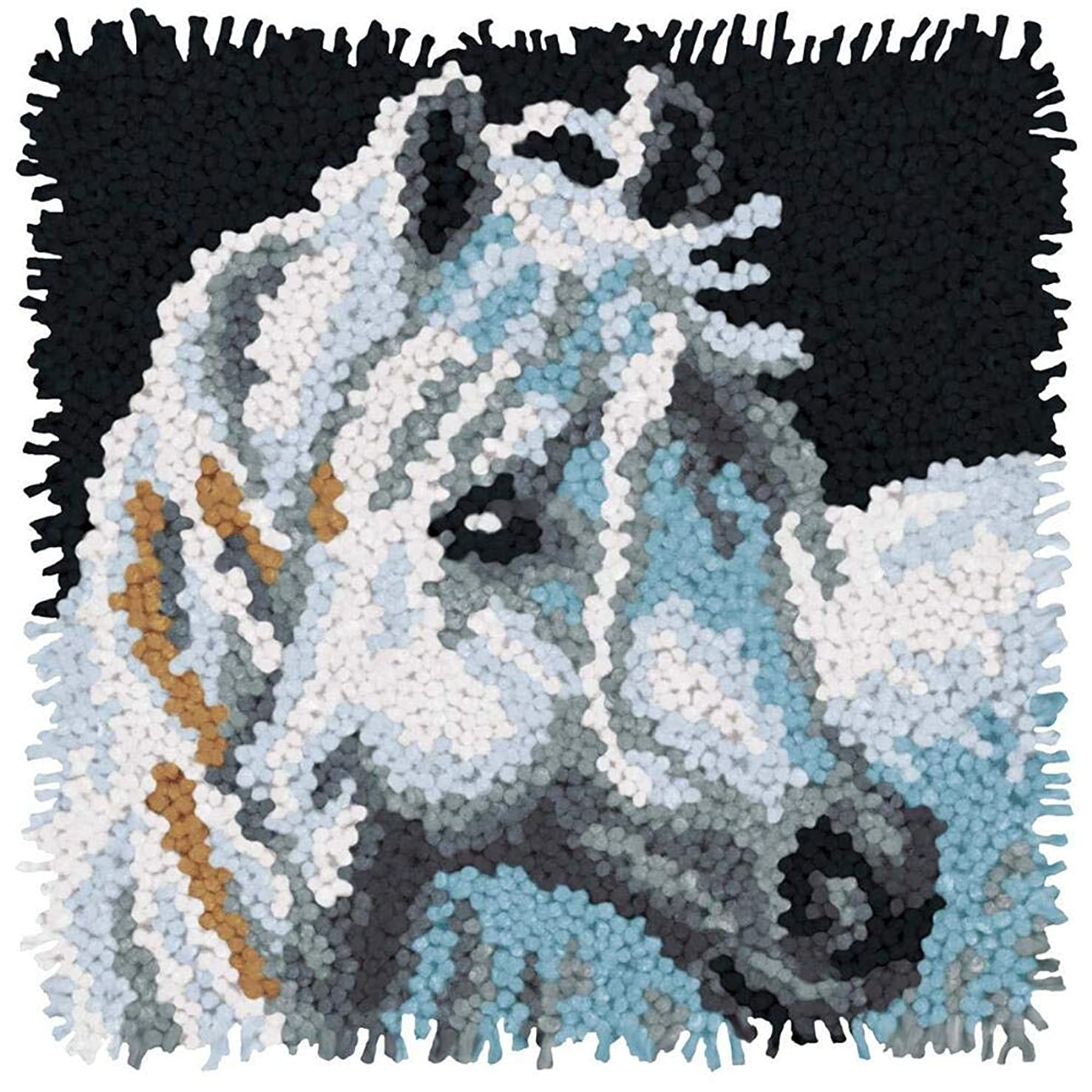 Dimensions Arts and Crafts White Horse Latch Hook Kit, 12''L x 12''H