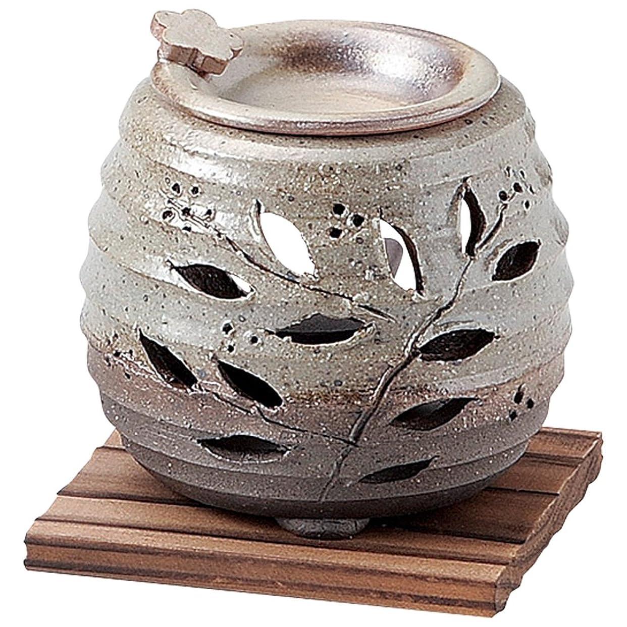人間プレミアムプラスチック山下工芸 常滑焼 石龍緑灰釉花茶香炉 板付 10.5×11×11cm 13045750