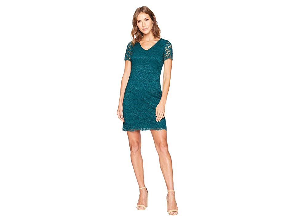 LAUREN Ralph Lauren Panel Lace Gordy Short Sleeve Day Dress (Spruce) Women